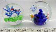 Dynasty Gallery Heirloomglass Paperweight Lot Of 2 Birds Flowers Fish Coal