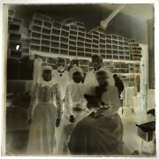 19th Century Glass Negative Tailor And Workers In Tailor Shop