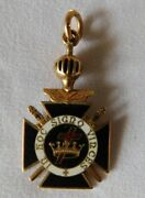 14k Gold Crown And Cross In Hoc Signo Vinces Knights Templar Crusader Pendant