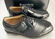 Footjoy Myjoys Icon Shield Tip Golf Shoes Black Patent Leather 11 Ee Extra Wide
