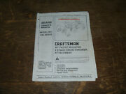 Sears Craftsman 842.242560 Front Snow Thrower Operator Maintenance Parts Manual