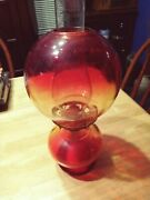 L👀k Vintage Oil Lamp Gone With The Wind Red And Yellow