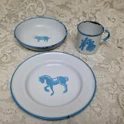 Vintage, Sweden, Childs 3-pc Enamelware Cup, Bowl And Plate Set