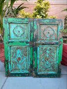 Ancient Wood Green Painted Hand Craved Window Door Frame With Antique Iron Lock