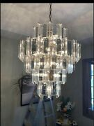 Vintage Murano Glass And Prism Crystal Waterfall Chandelier Hollywood Regency