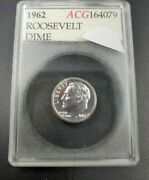 1962 P Roosevelt Silver Dime Coin Accugrade Near Perfect Gem Proof Mirror Like