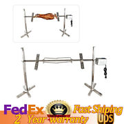 53 Rotisserie Barbecue Grill 15w Roaster Tripod Motor Stainless Lamb Skewer Us