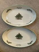 Spode Christmas Tree China With Green Trim Set Of 2 Oval Serving Dishes
