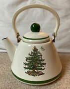 Spode Christmas Tree China With Green Trim Metal Teapot Kettle