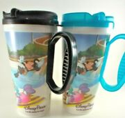 Disney Parks {2}plastic Tumblers Cup With Handle Sc-16 Snap Lid Blue And Black