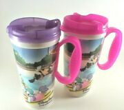 Disney Parks {2}plastic Tumblers Cup With Handle Sc-16 Snap Lid Pink And Purple