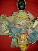Extremely Rare Black/white Compo.1930 Topsy-turvy Two-sided Large Boudoir Doll