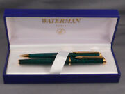 Waterman Vintage Hemisphere Green Marble Fountain Pen And Pencil Set-new