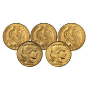 Lot Of 5 French 20 Franc Roosters Fractional Gold Bullion Investment Coins
