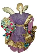 Paper Mache Angel Purple And Gold 9 1/2 Figure Christmas Tree Topper