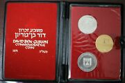 Israeli Coins Gold David Ben Gurion 1974 Proof Gold And Silver In Box .900 28g
