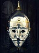 16ga Sca Larp Medieval Asian Armor Helmet With Face Plate And Chainmail