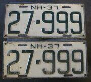 New Hampshire 1937 License Plate Pair - 27-999