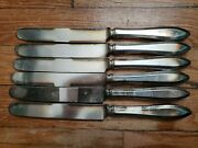 6 Antique Vintage Collectible Community Silver Plate Knives 9.5