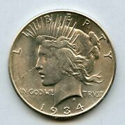 1934-s 1 Peace Silver Dollar Uncirculated With Light Cleaning In Left Field