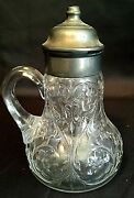 Depression Glass Mckee Rock Crystal Clear Syrup Dispenser With Metal Lid