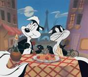 Wb-looney Tunes Pepe Le Pew/penelope Limited Edition Cel-they Eat Pasta Too