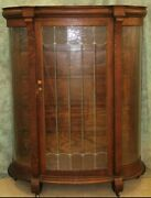 Antique Lead Glass Bow Front Oak Curio China Display Cabinet With Wheels