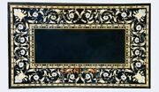 28and039and039x55and039and039 Black Collectible Marble Table Mosaic Mother Of Pearl Inlay Decor B325