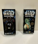 """Star Wars 1997 Greedo Exclusive And Tie Fighter Pilot 12"""" Collector Series Lot 2"""