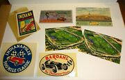 Vintage 1955 Indianapolis Indy 500 Ticket Stub Post Cards + Stickers