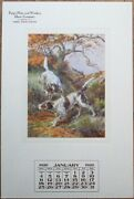Fargo Nd 1920 Advertising Calendar W/hunting Dogs Window Glass - E. Osthaus