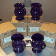 Longaberger Eggplant Pottery Latte Mugs 4-footed Mugs New In Original Boxes