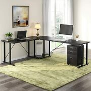 Tribesigns 83 Inches Rustic Large L-shaped Desk With File Cabinet Brown / Black