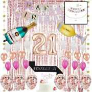 21st Birthday Decorations 21 Party Supplies Cake Topper Rose Gold Finally Sash C
