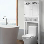 Over The Toilet Space Saver Cabinet Storage With Tower Rack Shelf White