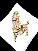 Crown Trifari Gold-plated Rhinestone Paris In Spring French Poodle Dog Brooch