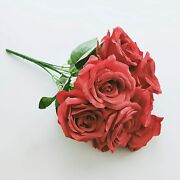 Artificial Red Rose Flower Bouquets Fake Silk Plants Dandeacutecor For Home 14.5