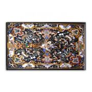 32and039and039x64and039and039 Black Marble Dining Table Top Pietradura Inlay Design Kitchen Art B380