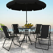 6 Pieces Outdoor Patio Dining Set 4 Folding Chairs And Glass Table With Umbrella