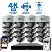 16 Channel Nvr 16 4k Ip Color Night Vision Microphone Security Camera System 8tb
