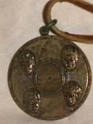 The Beatles Pendent Coin Record Charm Metal Gold Brass Leather Necklace Vintage