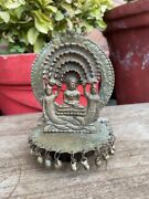 1850and039s Antique Old Hand Carved Brass Hindu Jain Statue Temple With Bells