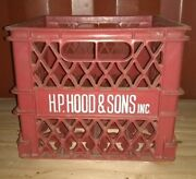 Hp Hood Sons Red Hard Plastic Milk Dairy Crate Original Maine Good Condition