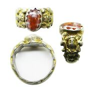 16th Century Tudor / Renaissance Silver-gilt And Amber Figural Ring Size 6 3/4