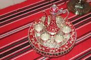 Kettle Copper Tray And Handle Dish Brass Serving Vintage Colors Red Tea 6pcs Cup