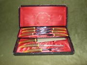 E Parker And Sons Sheffield England Carving Set And 6 Steak Knives Bakelite/ W Box