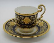 Cauldon Cobalt And Raised Gold Demi Tasse Cup And Saucer