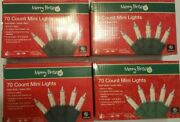 Lot Of 4 Christmas Holiday 70ct Mini String Lights Clear White Merry Brite Set