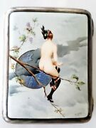 High Quality Sterling Silver Hand Painted Nude Lady Enamel Cigarette Case H Gray