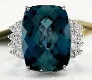 33.40 Carats Natural London Blue Topaz And Diamond 14k White Gold Ring